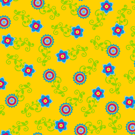 Ditsy flowers on yellow fabric by stitchwerxdesigns on Spoonflower - custom fabric