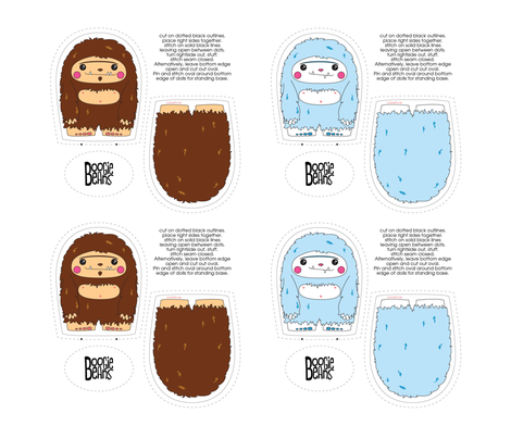 Sasquatch and Yeti Plush Set fabric by kfay on Spoonflower - custom fabric