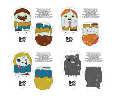 Zombie Plush Set fabric by kfay on Spoonflower - custom fabric