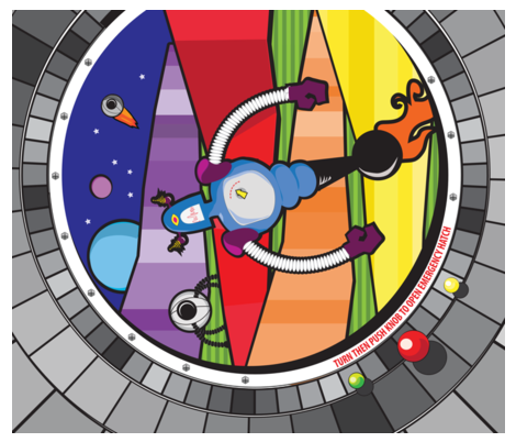 The view from my Spacepod docked on Rainbow Planet fabric by wendyg on Spoonflower - custom fabric