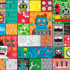 Robot friends - Cheater quilt