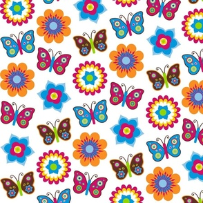 Flowers & butterflies on white background