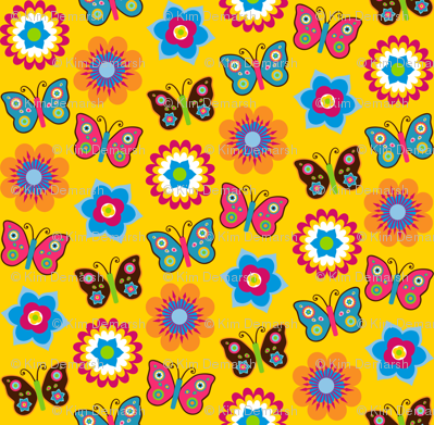 Flowers & butterflies on yellow