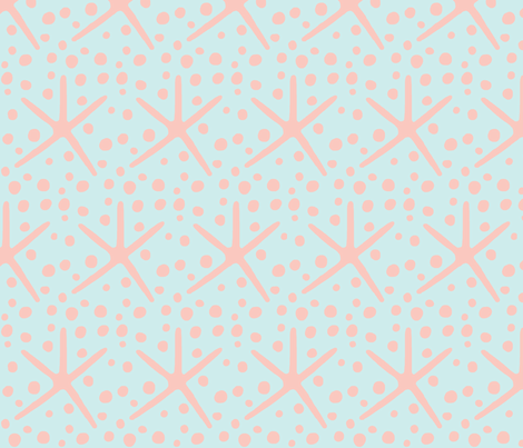 Spotty Dotty Starfish (peachy pink & lt. aqua blue) fabric by pattyryboltdesigns on Spoonflower - custom fabric