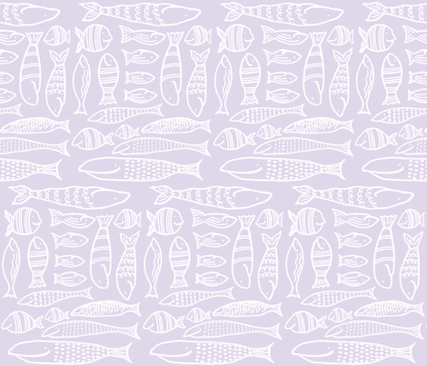 Funky Fish (lilac & white) fabric by pattyryboltdesigns on Spoonflower - custom fabric