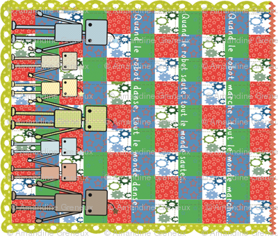 Dancing Robot cheater quilt
