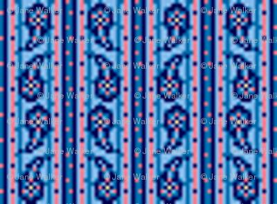 Tiny Paisley Stripe Blue  ©2012 by Jane Walker