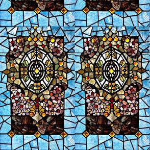 Stained Glass print - Fleur de Lys - amethyst & fuscia
