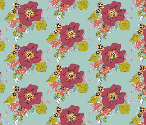 Chick Chick Floral fabric by ©_lana_gordon_rast_ on Spoonflower - custom fabric