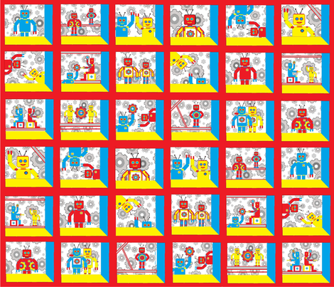 Attic Window Robot Cheater Quilt fabric by joofalltrades on Spoonflower - custom fabric