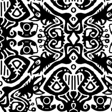 monster phone ikat fabric by scrummy on Spoonflower - custom fabric