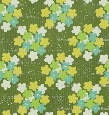 Green Flowers on Corduroy