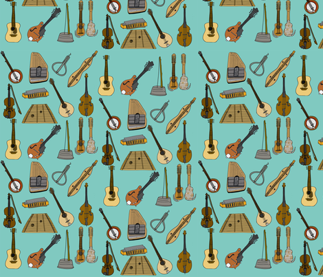 Musical Menagerie  fabric by illustratedbyjenny on Spoonflower - custom fabric