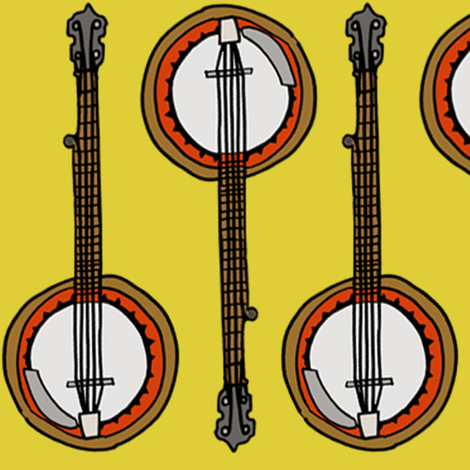 Banjos (big) fabric by illustratedbyjenny on Spoonflower - custom fabric