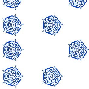 tudor celtic rose blue on white