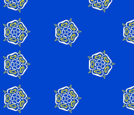 tudor celtic rose blue and gold on white