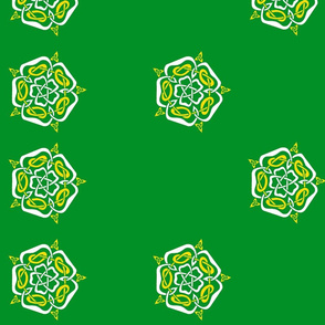 tudor celtic rose white and gold on green