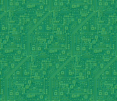 Robot Circuit Board (Green) fabric by robyriker on Spoonflower - custom fabric