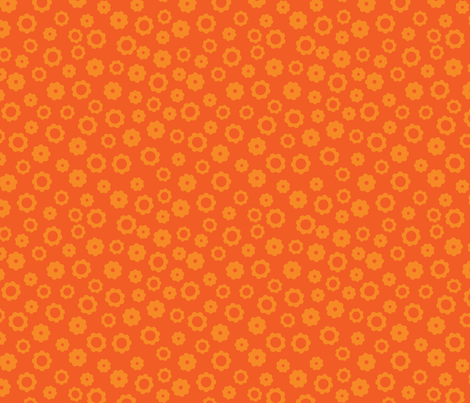 Robot Gears (Orange) fabric by robyriker on Spoonflower - custom fabric