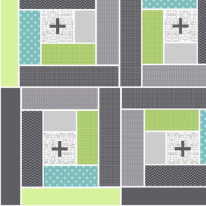 log cabin whimsy cross patchwork print design