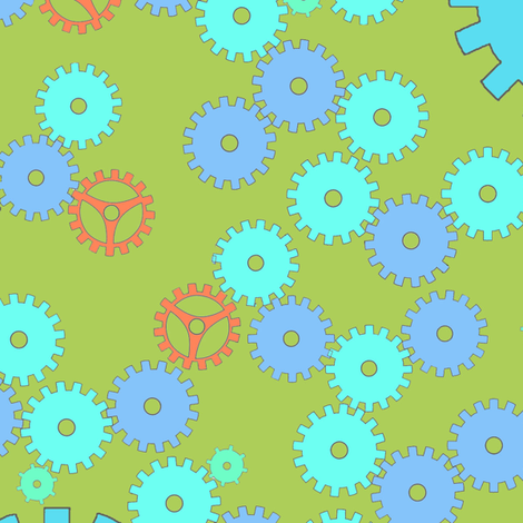 Gears fabric by annekul on Spoonflower - custom fabric
