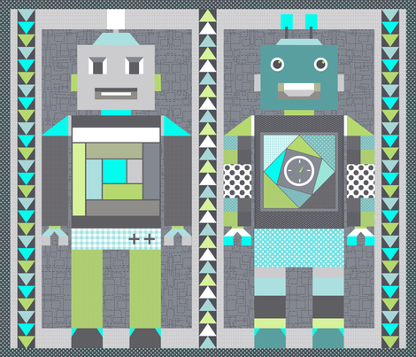 robot cheater quilt fabric katarina spoonflower