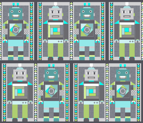 robot quilt smaller scale fabric by katarina on Spoonflower - custom fabric
