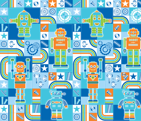 I love robots cheater quilt in repeat