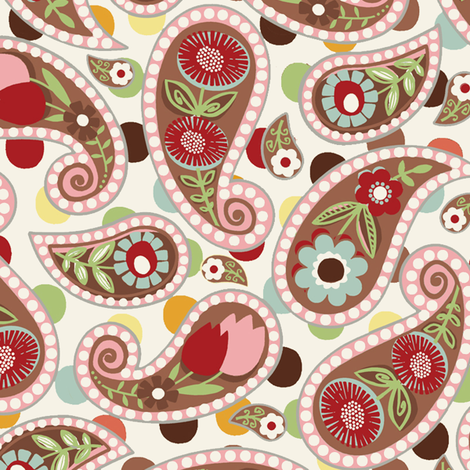 Flatter Paisley / Col: Pink fabric by hoodiecrescent&stars on Spoonflower - custom fabric