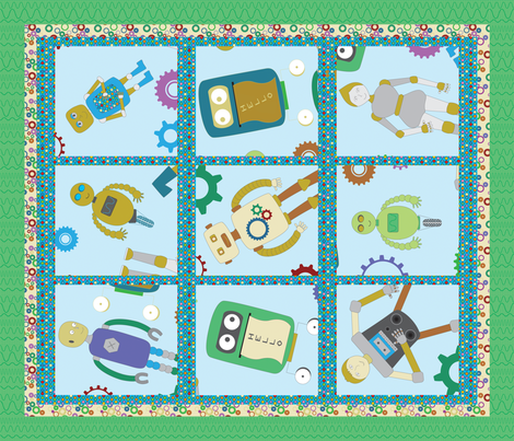 Robots, Gears, & Buttons, Oh My! fabric by jubilli on Spoonflower - custom fabric