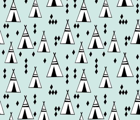 tipi // mint and white kids nursery black and white southwest teepee fabric by andrea_lauren on Spoonflower - custom fabric