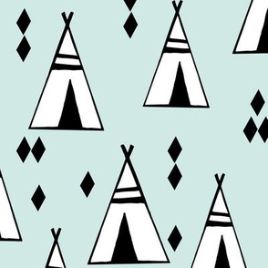 tipi // mint and white kids nursery black and white southwest teepee