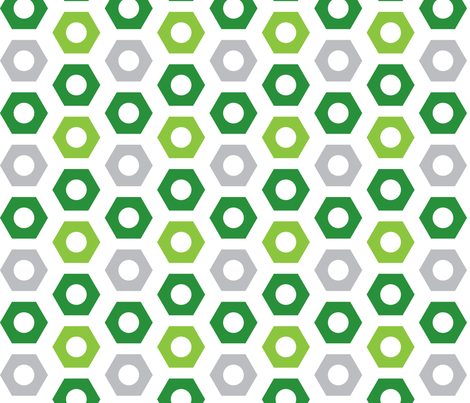 Nuts in green and grey fabric by upcyclepatch on Spoonflower - custom fabric