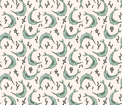 Narwhal // mint and cream narwhals fabric by andrea_lauren on Spoonflower - custom fabric