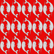 Wonderful Narwhals - Red and Grey