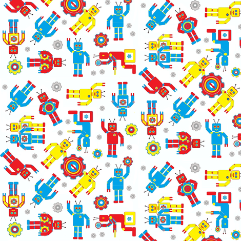 Random_Robots_Smaller_Scale fabric by joofalltrades on Spoonflower - custom fabric