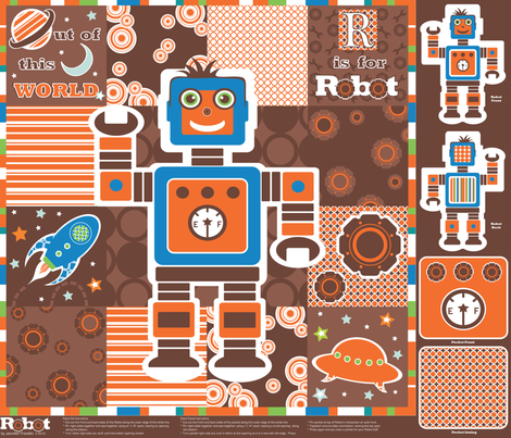 Robot Cheater Quilt and Doll Kit fabric by jenniferfranklin on Spoonflower - custom fabric