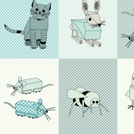 eulen&lerchen_robotanimals fabric by eulen&lerchen on Spoonflower - custom fabric