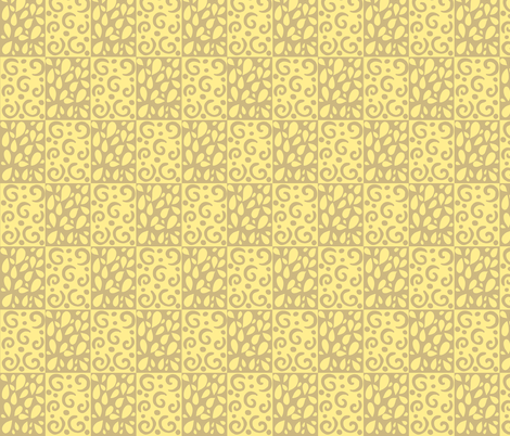 petals and swirls tan/yellow fabric by alyson_chase on Spoonflower - custom fabric