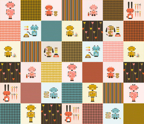 robo-cheater-quilt fabric by bunnypumpkin on Spoonflower - custom fabric