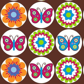 Flowers & Butterflies in Circles on Brown