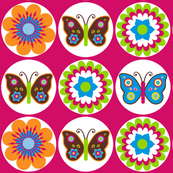 Flowers & butterflies in circles on pink