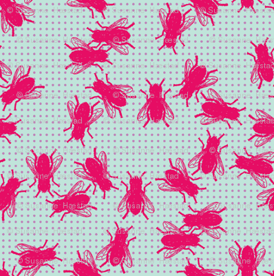 Flies pink violet dots on mint background