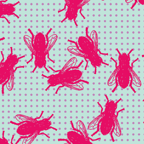 Flies pink violet dots on mint background fabric by susiprint on Spoonflower - custom fabric