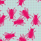 Flies pink violet dots on mint background
