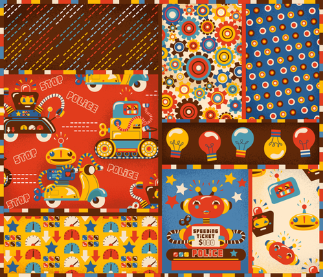 Speeding Robots Cheater Quilt fabric by irrimiri on Spoonflower - custom fabric