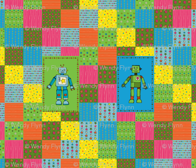 inky Robot cheater quilt