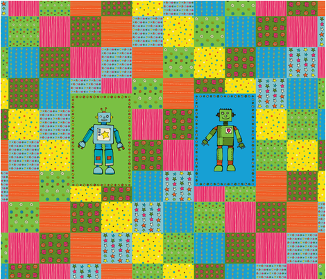 inky Robot cheater quilt fabric by doris&fred on Spoonflower - custom fabric