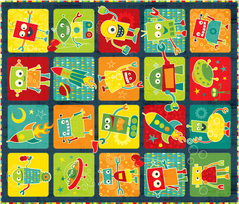 Space Robots fabric by jennartdesigns on Spoonflower - custom fabric