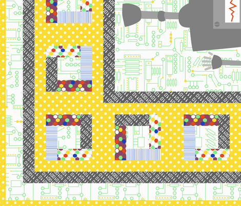 Beep Boop Bop Robot Cheater Quilt fabric by meg56003 on Spoonflower - custom fabric